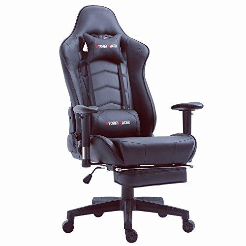 Storm Racer Ergonomische Fußstütze Computer Gaming Hohe Rückenlehne Drehstuhl Büro Stuhl mit Anpassung Kopfstütze und Lendenwirbelstütze Racing Stuh(schwarz ) (Ersatz-stuhl-teile)
