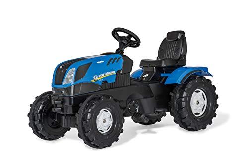 rolly toys 601295 Tractor rollyFarmtrac New Holland, Tractor de Pedales con capó para Abrir, Ajuste de Asiento, neumáticos silenciosos, Protector de Cadena, a Partir de 3 años, Color Azul