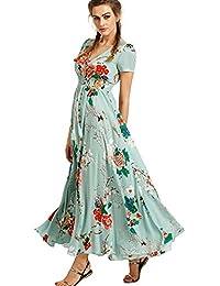 e2a4b448f61a Murieo-Vestito Estivo da Donna con Scollo a V Elegante Abito Lungo con  Motivo Floreale