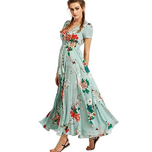 c1a2434026e819 Modfine Damen Boho Kleider Maxikleid Blumen Kleider Sommerkleider Lange  Kurzarm V-Ausschnitt Strand Kleider Bohemien