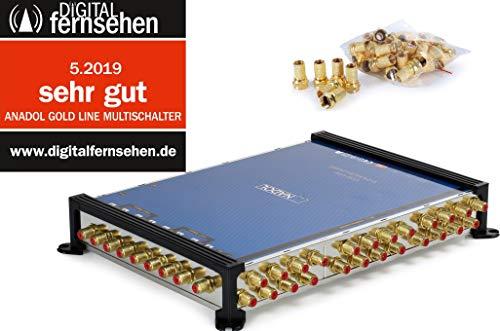 Anadol Gold Line 9/24 digitaler Multischalter [ Test SEHR GUT ] Multiswitch für 2 Satelliten und 24 Ausgänge/Receiver - mit externem Netzteil - 33 vergoldete F-Stecker gratis