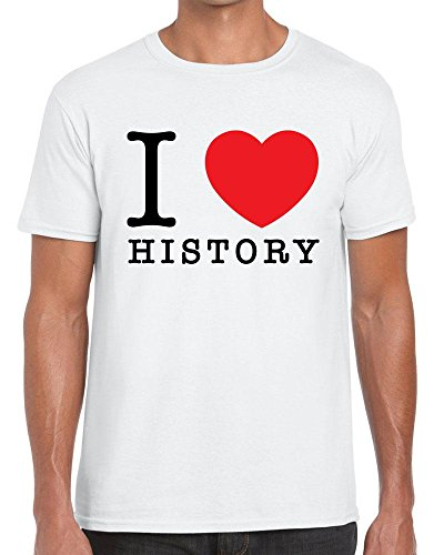 Funky NE Ltd I Love History - Heart - The Past - Tshirt - 100% Cotton - Small to XXL - 6 Colours - Great Gift Idea by