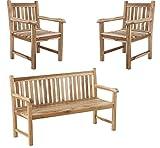 SAM Sparset Caracas 1 x Gartenbank & 2 x Gartenstuhl aus Teak-Holz, Sitzbank 150 cm, Pflegeleichte Unikate, für Garten, Terrasse & Balkon