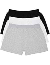M&Co Mens Everyday Classic Cotton Jersey Elasticated Waist Boxers Shorts - 3 Pack