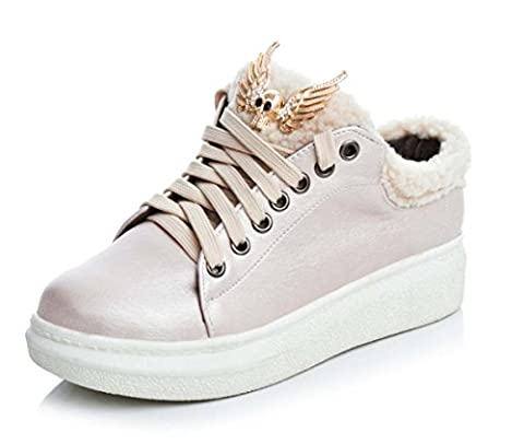 Street Punk Style Sneaker Round Toe Chaussures À Lacets Chaussures De Course Autumn Winter Warm Women / Girl Casual Shoes ( Color : Pink , Size : 39 )