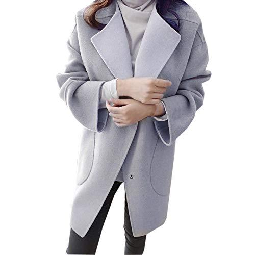 NEEKY Frauen Winter Warmer Parka Lässige Wollmantel Trench Jacke Outwear Damenmode Langarm Mantel(EU:34/S, Grau) -