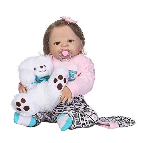 LANDUM 22in Nouveau-Né Réaliste Plein Silicone Bébé Poupée Rose Vêtements Blanc Ours Chapeau Arc Cheveux Clip Jouets Petite Enfance