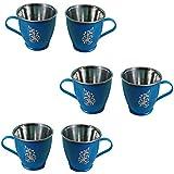 Stylo Tea & Coffee Mug Set Pack Of 6 - BPA Free Color : Blue