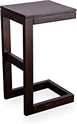 Daffy Solid Wood Side Table (Walnut Finish)