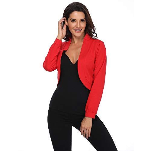 Damen Elegante Offener Kurze Strickjacke Einfarbig Kimono Blazer Klage Langarm Cropped Bolero Shrug Jacke Cardigan Mäntel (S-XL)