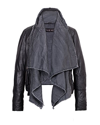Freaky Nation - Sportliche Damen Lederjacke mit Textileinsatz in black/grey, Art. Scarf (314297), Größe:L;Farbe:schwarz