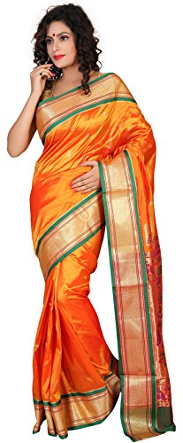 ARUNAFASHIONS Women's Raw Silk Saree (Pplane5001_Orange_Green _Mango)