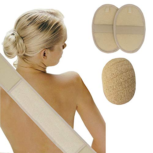 Leecee Rückenschwamm, Schwamm Dusche, Luffa Rückenschrubber mit Luffa Schwamm, 100% Luffa Natur Schwamm für Bad und Dusche, 4 in 1 Körper Peeling Set -