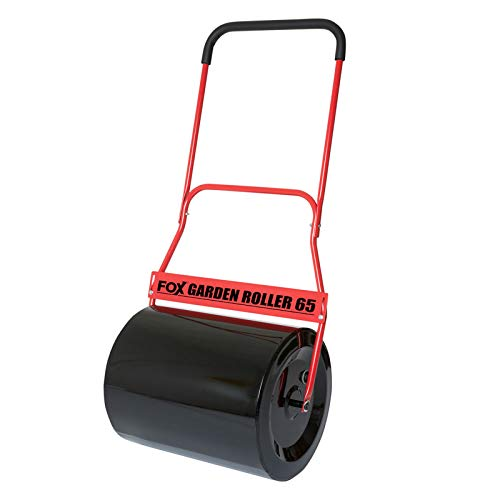 Fox 65 Litre Steel Garden Lawn Roller Heavy Duty 100% Steel 500mm Working Width with Comfort Soft Grip and Scraper Bar - Fill With Water/Sand/Cement
