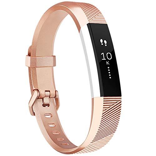 Tobfit - Cinturino morbido regolabile per Fitbit Alta e Fitbit Alta HR (fitness tracker non incluso), Rose Gold, S