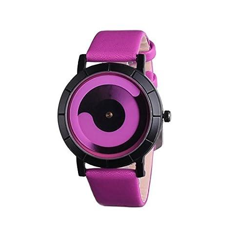 Coolster Unisex Frauen Paar Watch Creative Wave Lovers 'Lederband Uhren (heißes Rosa)