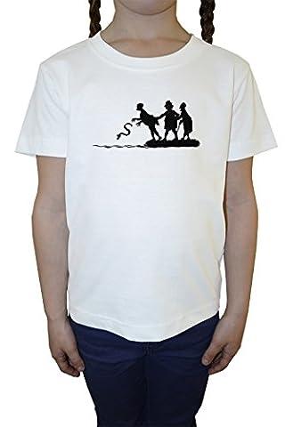 Wurf Schlange Mädchen Kinder T-Shirt Rundhals Weiß Baumwolle Kurzarm Girls