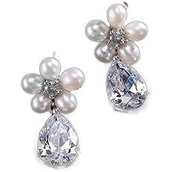 Pendientes de Zircón Cubico AAA+ y perlas simuladas en forma de flor estilo vintage chapado en oro blanco