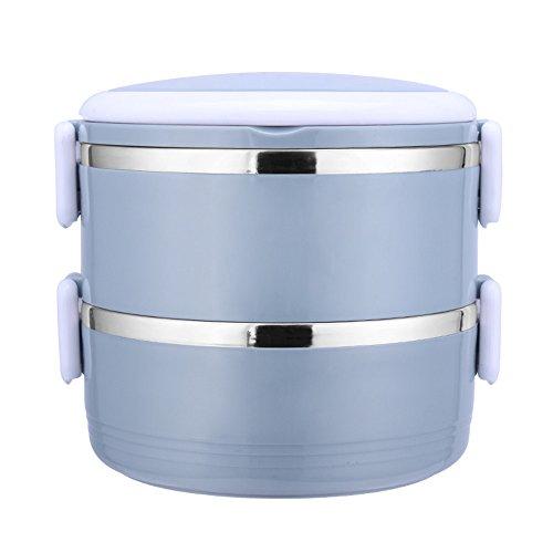 RFVBNM Boîte à lunch ronde stratifiée d'acier inoxydable étudiants portatifs avec le riz top-floor sealed Bento boîtes à manger pour adultes portatifs, bleu 2 couches