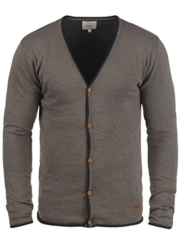 REDEFINED REBEL Maxen Herren Strickjacke Cardigan mit V-Auschnitt aus 100% Baumwolle Faded Brown