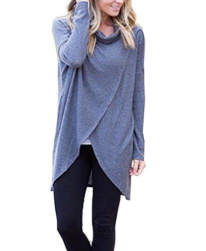 Damen Oberteile Blusenshirt Grundiert Hemdblusen Turndown-Neck Unregelmäßig Schräg Volltonfarbe Grau