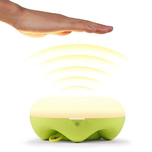 HAMSWAN Q5 Nachttischlampe Wireless Sensor-Nachtlicht Einstellbarer für Kinder Kinder Baby-Augen-Pflege LED Sicher ABS + PC + Lebensmittelqualität Silikon USB wiederaufladbare(Grün)