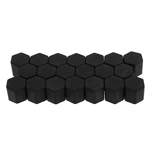 Schwarz 19 (19mm Schwarz 20Pcs Set Silikon Auto Radschraubenkappen Radmutter Kappen Abdeckungen Staub Schutz Kappen)