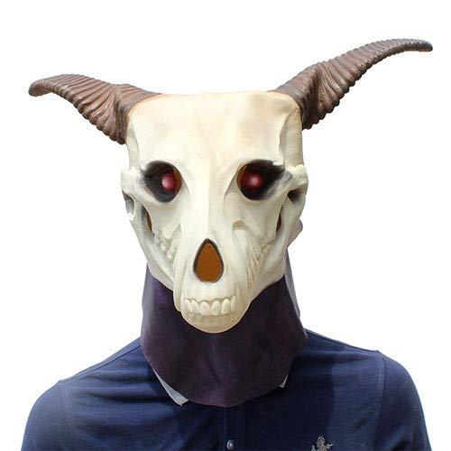 QETU Halloween Anime Ancient Magus Braut Maske, Cosplay Dämon Ghost Totenkopf Vollkopf Latex Tierkopf Maske