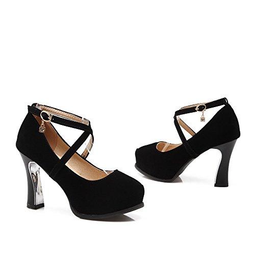 VogueZone009 Femme à Talon Haut Dépolissement Boucle Rond Chaussures Légeres Noir