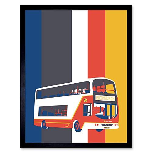 Wee Blue Coo LTD Edinburgh Transport Bus Art Print Framed Poster Wall Decor Kunstdruck Poster Wand-Dekor-12X16 Zoll -