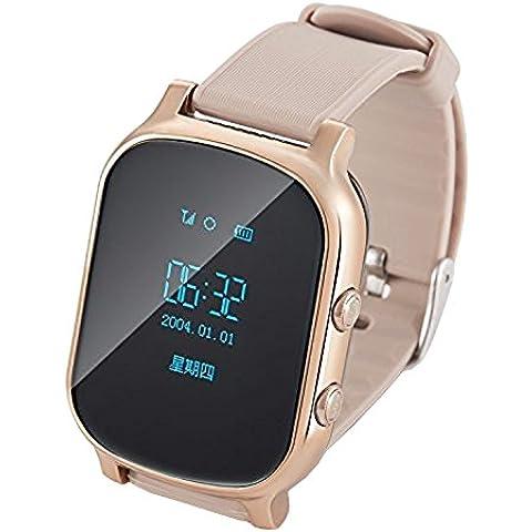COOSA reloj GPS Tracker para niños y ancianos de edad avanzada Botón pulsera GPS Google Map SOS GPS pulsera Personal Tracker GSM SGP localizador T58 reloj Rastreador para iOS Android (oro,