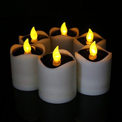 Advocator Set von 6 Romantische Solar Power LED Teelichter Kerze Lampe Nachtlicht Licht für Heimtextilien
