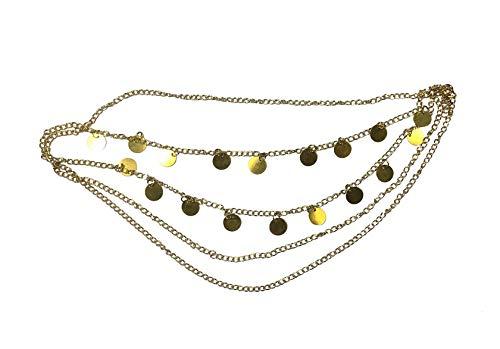 Jane Stone Damen Haarschmuck Boho Haarband goldfarbene Charms Festival Kopfschmuck Haarkette aus - Indische Mittelalter Kostüm