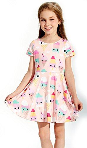 Funnycokid Kid's Swing Kleid Mädchen Sommer Kurzarm Eis -