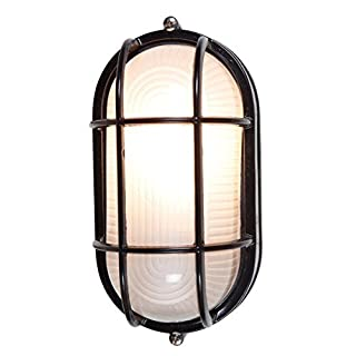 Nauticus 4.25H Outdoor Bulkhead - Black Finish with Frosted Glass Shade by Access Lighting
