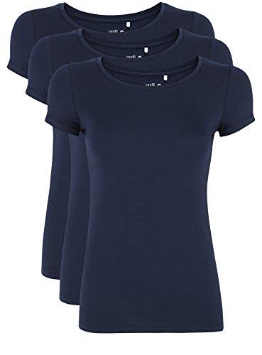 oodji Ultra Damen Tailliertes T-Shirt Basic (3er-Pack), Blau, DE 38 / EU 40 / M