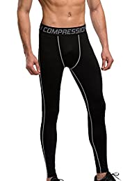 Homme Collant de Compression Sport Legging Contention Gym Elastique Uni Sexy