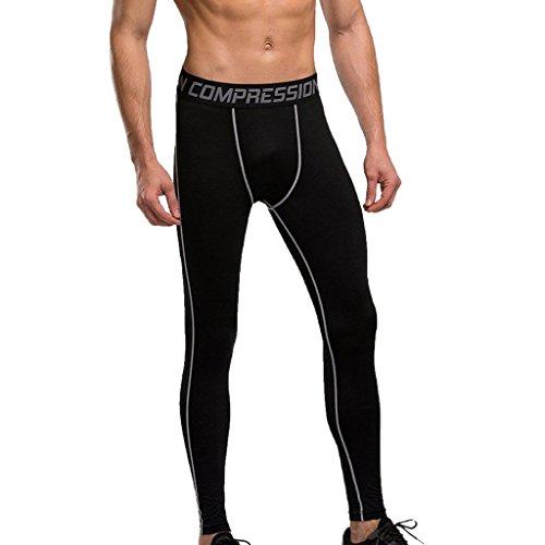 HERREN mens sporthosen fitnesshosen COMPRESSION TRAINING LEGGING Leggings HOSE pants - Grau + Schwarz, L