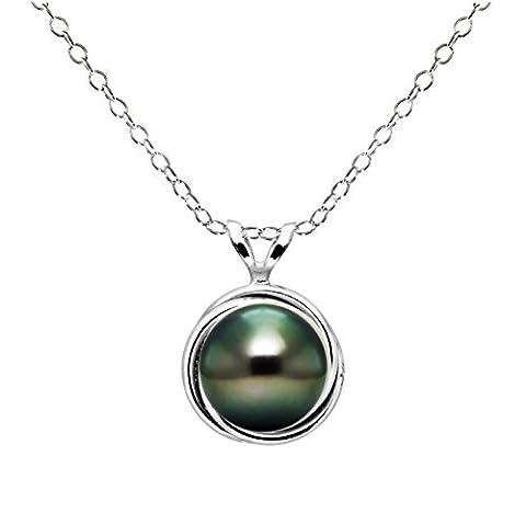 Argent sterling 8–8,5mm rond Noir perle de culture de Tahiti Love-knot Cadre Motif pendentif, 45,7cm