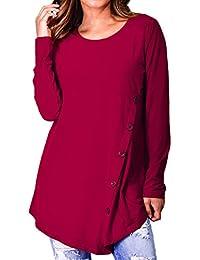 32ccb21484 Gavemenget Damen Frühling und Herbst Oberteile Rundhals Langarmshirts Tops T -Shirt Pulli Longshirt Mode Irregulär…