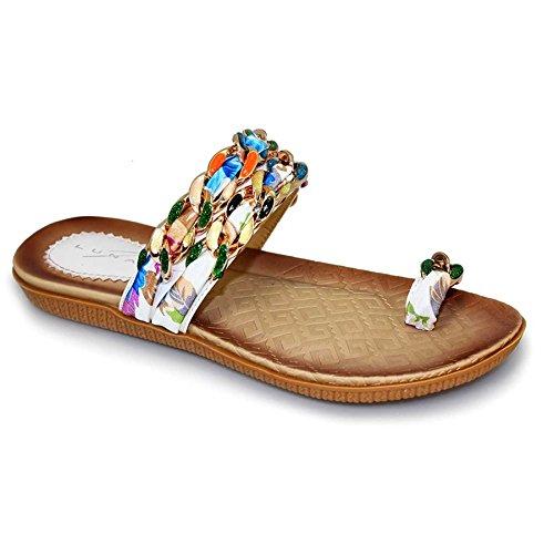 Fantasia Boutique - comoda sandali con cinghie e dita con passante, multicolore Bianco