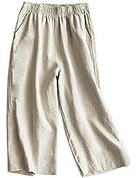 Pantalones Mujer Pantalones Capri Pantalon Ancho Cintura Elástica Casual  Pantalones De Lino 19c3e2e8c753