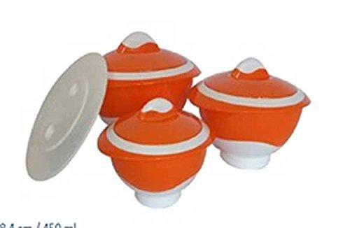 3 Thermo Schüsseln Satz Set Thermobehälter Thermoschüssel mit Deckel 7 tlg. orange Mikrowelle