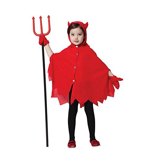 M&A Kinder Mädchen Kostüm für Halloween, Rot Teufel, Gr. S(Körpergröße: 90-110 (Für Kostüme Teufel Kinder)