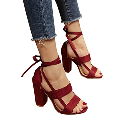 Hot Sale!Sandalen Damen, Sonnena Frauen Mode Sandalen Knöchel High Heels Block Party Offene Zehen Schuhe Solid/Square Heel/Knöchelriemen/Knöchel/Super Hoch/Gummi (Sexy Wein, 38)