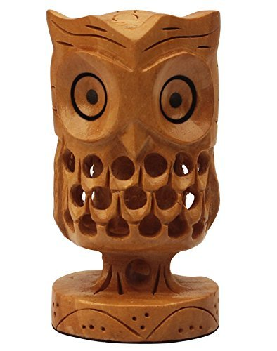 SouvNear Hand-Carved 7.6 cm Wooden Owl Figurine / Statue / Sculpture in Light Brown Color - Crafted with Jaali Art