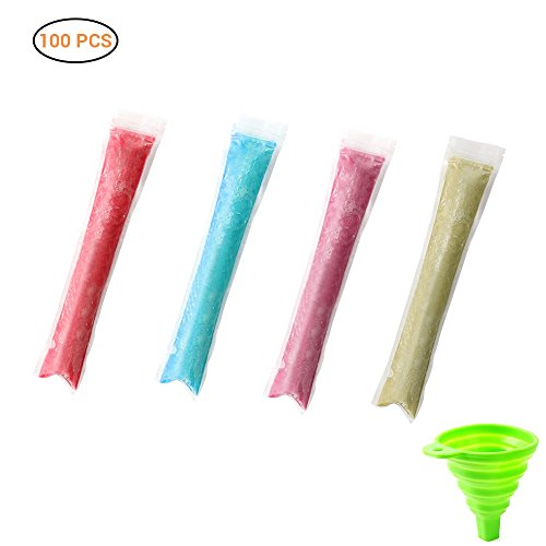 """AimdonR 100 Pack Eis Popsicle Form Taschen mit Trichter und Rezept, 2 x 11""""DIY Zip-Top Eis Pop Beutel für Gogurt, Eis Bonbon oder Freeze Pops, BPA frei"""