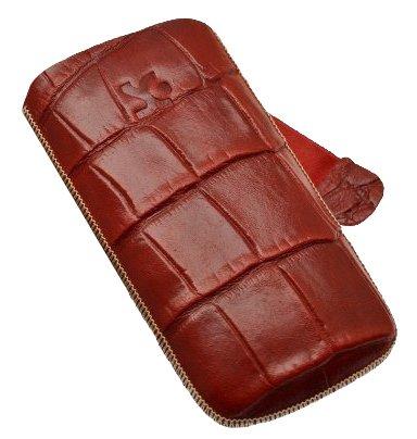 Original SunCase Tasche fuer - Samsung Wave 2 / Samsung GT S8530 - Leder Etui Handytasche Ledertasche Schutzhuelle Case Huelle S-8530 Wave2 *Lasche mit Rueckzugfunktion* In der Farbe Croco-Rot