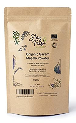 StayFreshOrganics Organic Garam Masala 200g - Certified by Soil Association - Resealable Pack from StayFreshOrganics