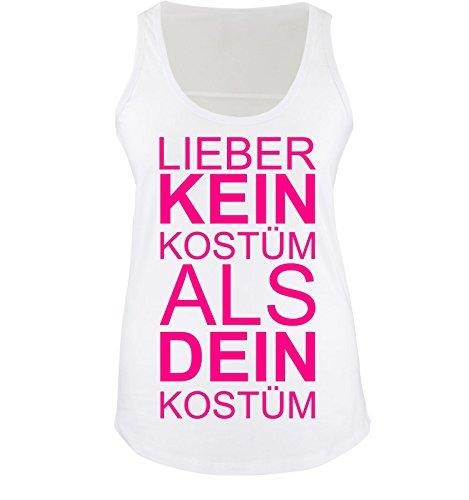 Comedy Shirts - Lieber KEIN Kostüm als DEIN Kostüm - Damen Tank Top - Weiss / Pink Gr. (Bonnie Und Hund Clyde Kostüme)